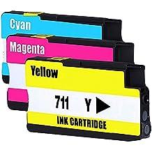 Jalee Color Cartuchos Reemplazo para HP 711 HP711 Compatible cartuchos de tinta para impresora HP designjet T120 Series, HP designjet T520 Series (1 Cian, 1 Magenta, 1 Amarillo)