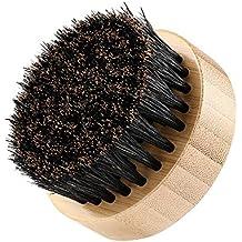 Plemo Cepillo de Barba, Pelo de Jabalí Peine de Pelo Facial para Estilizar y Mantener el Bigote, Forma Redondo