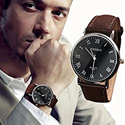 Bocideal New Nens Luxury Faux Leather Mens Quartz Analog Watch