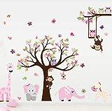 Rureng Cartoon Tiere Zoo Eule Schmetterling Affe Wandaufkleber Für Kinderzimmer Wohnkultur Bunte BaumStick Auf Wand