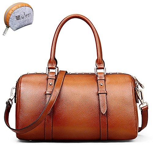 Retro Rivet cuoio genuino di stile maniglia superiore della borsa di corsa della spalla delle donne Myleas Marrone Aclaramiento Última Q7aynf