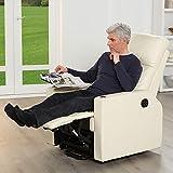 aktivshop Fernsehsessel - Relaxsessel - Komfortsessel mit Aufstehhilfe, Wärmefunktion & Massage || ausklappbarer Seitentisch || inkl. Seitenfach (Creme) - 3