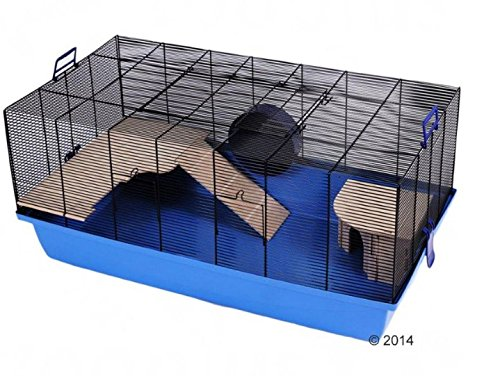 Barney Fully-Equipped Pet Cage - Blue - with Untreated Wood Accessories Perfect for for Hamsters, Russian Hamsters and Mice