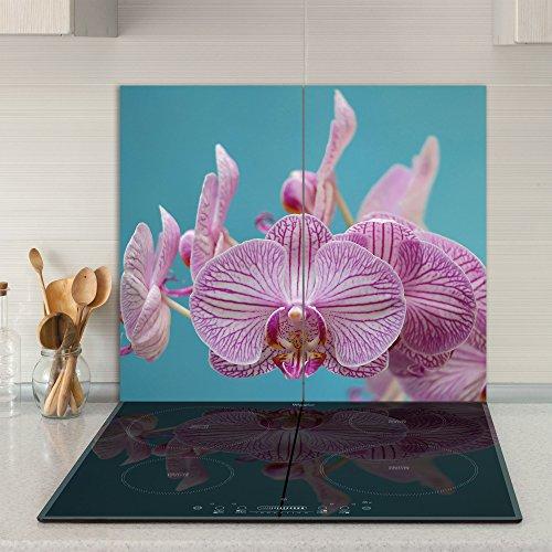Home Decor Calientaplatos/Protector antisalpicaduras de Cristal, 2Piezas, 60x 52cm, para vitrocerámica de inducción, orquídea, Juego de 2