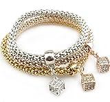 Gespout Moda Braccialetto per Donna 3pcs Argento D'oro Oro Rosa Catena di Mais Ciondolo di Diamanti Cube Bracciali Ideale Regalo per Compleanno, Natale, Matrimonio, San Valentino