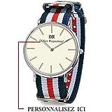 Montre personnalisable, Modèle Homme, gravure du nom et prénom, bracelet Nato rayure de couleur. (Montre Homme / Argent, Bracelet Bleu / Blanc / Rouge / Bleu)