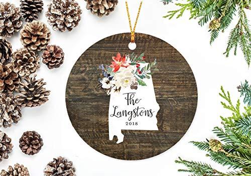prz0vprz0v Alabama State Christmas Ornament with Holiday Flowers, Keepsake Gift 3 Inch Ornament