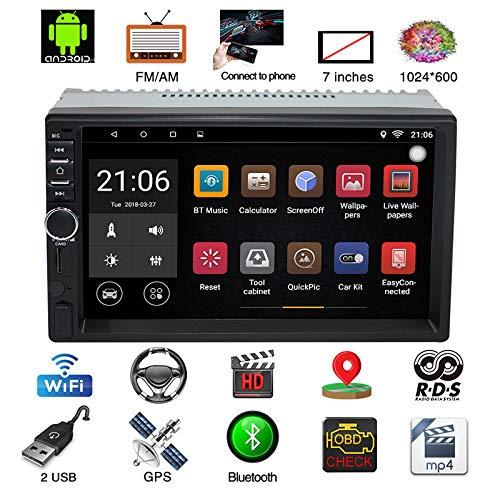 2 Din Autoradio, Parkomm 7 Zoll Autoradio Bluetooth GPS-Navigation mit Touch Screen, Android 7.1 Autoradio MP5 Spieler unterstützt Mirrorlink/Bluetooth/BT/WiFi/AM/FM/USB Aux Eingang (Autoradio 7 Zoll Touchscreen)