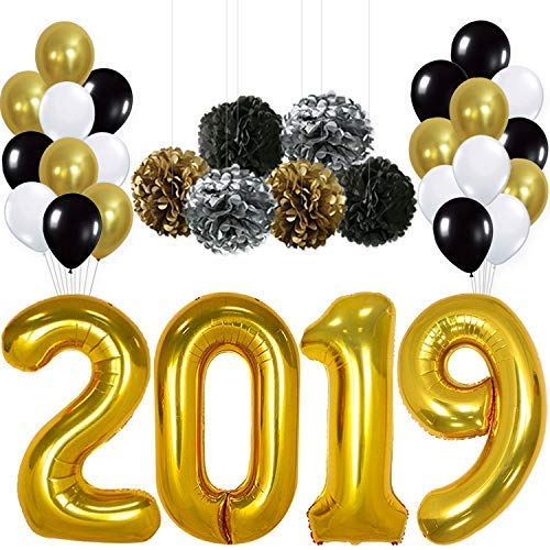Large, 2019 Balloons Banner Decorations - Pack of 31 | Black Gold White Latex Balloons | Black Silver Gold Pompoms, DIY | Great Graduations Party Kit, Years Eve Backdrop, Home Office