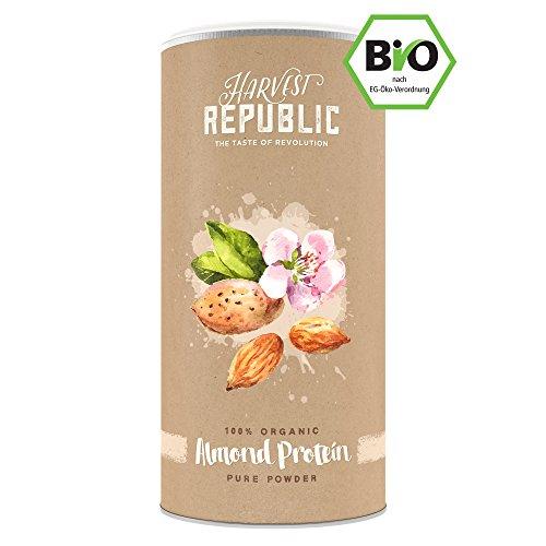 Natürliches Bio Mandelprotein - HARVEST REPUBLIC - Veganes Eiweisspulver perfekt für Protein Shakes (100% pures Proteinpulver aus ökologischem Landbau - ohne Zusätze)