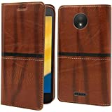 Jkobi® WoodFeel Leather Wallet Flip Case Cover For Motorola Moto C Plus -Leather Brown