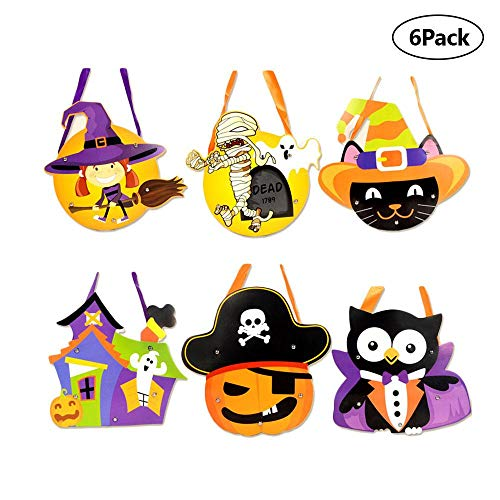 (FOONEE Halloween-Party-Zubehör, 6 Stück Taschen, DIY Trick Leckerlis, Geschenktüte, Halloween-Motiv, Muster.)