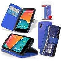 Orzly ® - Rocksie Case - per NEXUS 5 con SENSORI di AUTO STANDBY per SONNO / RISVEGLIO + COPERCHIO MAGNETICO e SOSTEGNO SUPPORTO INTEGRATO - Copertura di protezione in BLU con design gioiello incastonato e stile di pelle della coccodrillo + PORTAFOGLIO INTEGRATO - Progetto in esclusiva per LG / GOOGLE NEXUS 5 - 2013 modello SmartPhone / Celulare