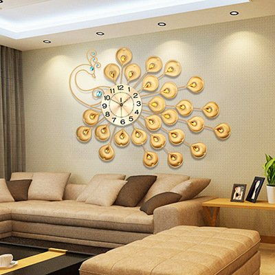 SJMM European High End Creative Gold Large Peacock Wall Clock Living Room Office Fashion Decoration Aluminum Plate Amazoncouk Kitchen Home