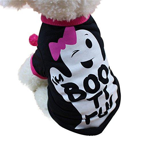 Halloween Pet Decor Moonuy Cool Halloween Cute Pet T-Shirts Kleidung Klein Puppy Kostüm, PVC, Schwarz, XS