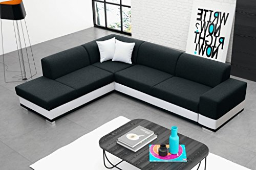Furnistad - Ecksofa MOLLY Mit Schlaffunktion Und Bettkasten (Schwarz, Option links)