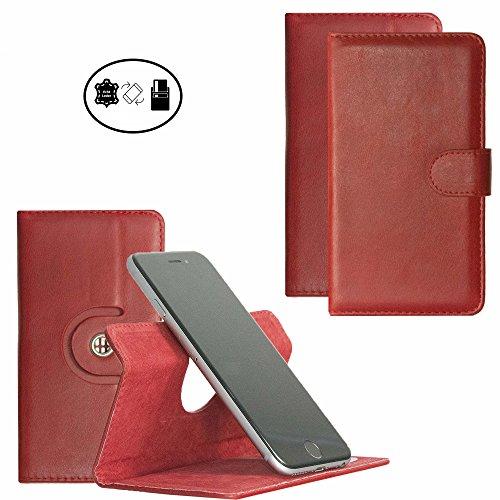 Handy Hülle für - Medion Life P5015 - High Quality Echtleder mit 360 Grade Dreh und Standfunktion - 360° Nano M Leder Rot