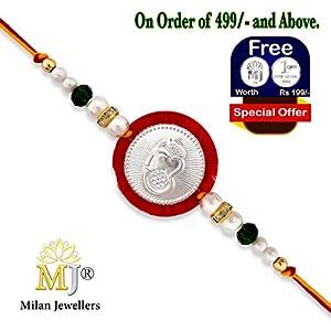 (0134) Milan Jewellers BIS HALLMARKED 99.5% Fine Silver Certified Ganesha Rakhi (Red)