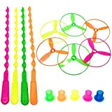 Kidsbay 7 Pcs/Set Bamboo Dragonfly Plastic Flying Saucers Pull String Spinning Wheel Outdoor Toy