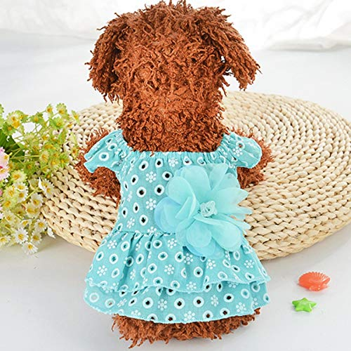 Nette beiläufige Welpen-Hundekatze-Punkt aushöhlen Prinzessin Dress 3D Blume Applique Rock Pet Apparel Jacke Kostüme Hundekatze 3D Blume Applique Rock, Lässige Puppy Dot aushöhlen Prinzessin Dress -