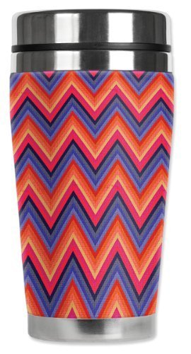 Mugzie Chevron Travel Mug with Insulated Wetsuit Cover, 16 oz, Multicolor by Mugzie