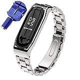XIHAMA für Xiaomi Mi Band 3 / Mi Band 4 Armband, Edelstahl Ersatzarmband ersatzband Metall Armband für Männer und Frauen (Three Bead, Silber)