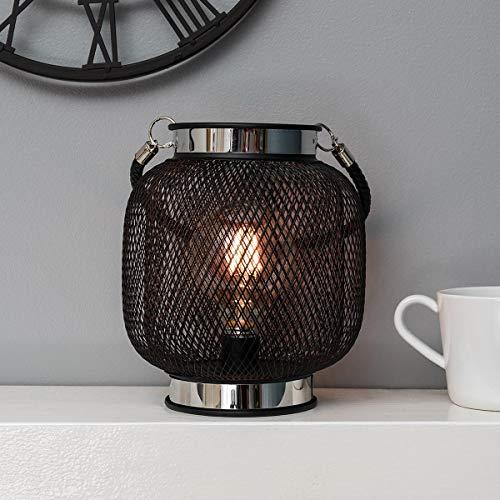 festive lights - lanterna a griglia metallica, 17,5 cm, stile retrò, a filamento, per esterni e interni, colore: nero, b