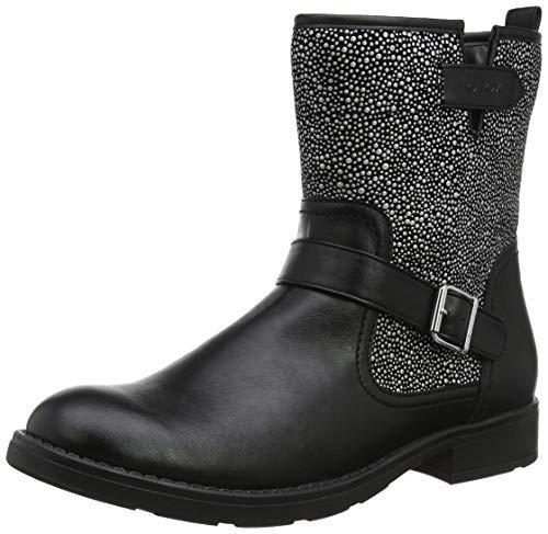 Geox Mädchen JR Sofia K Biker Boots, Schwarz (BLACK/SILVERC0039), 34 EU