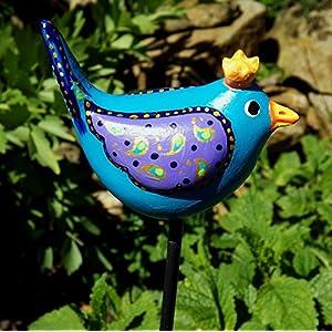 Gartenkunst, Gartenkeramik, Keramik Gartenstecker Zaunkönig Türkis, handgefertigt und handbemalt