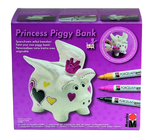 Marabu 012300088 Princess Piggy Bank Porcelain Painter Malset