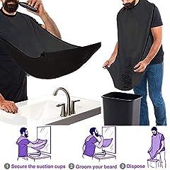 Idea Regalo - Grembiule Barba e Pettine Barba Forma, Beard Apron con Ventose per Specchio Lasciate Che il Vostro Bagno Pulire, Prodotto di Qualità Premium per La Barba Nera