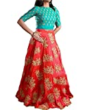Market Magic World Woman's and Girl's Orange Banglori Silk Semi stitched Free Size Lehengha Choli (Ghaghra Choli, Chaniya Choli)