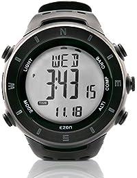 EZON H011F11 Montre de randonnée multifonctionnelle Montre étanche étanche à l'eau avec compas Baromètre Altimètre Thermomètre Température Montre bracelet Montre sport pour hommes (Noir)