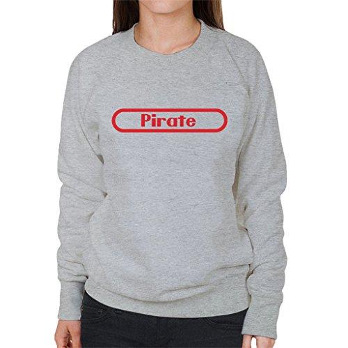 Pirate Nintendo Logo One Piece Womens Sweatshirt Heather Grey