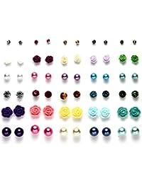 Multi Packs Boule de cristal–Fleurs de boucles d'oreilles pour filles, hypoallergénique
