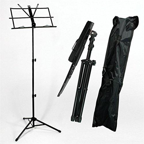 Notenständer Klappbar Stabil mit Tasche für Flöte und Gitarre Tisch, Robuster tragbarer Musik Notenständer Metallständer für kinder, Einstellbare Höhe, Standhöhe 50-140cm, schwarz