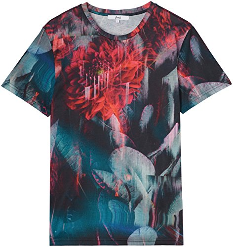 FIND Herren T-Shirt mit abstraktem Print Schwarz (Multicoloured)
