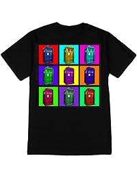 TARDIS Psychedelic Squares Mens T-Shirt (Black, Small)