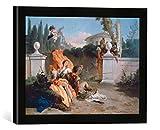 Gerahmtes Bild von Giovanni Battista Tiepolo Rinaldo und Armida werden von Ubaldo und Carlo überrascht, Kunstdruck im hochwertigen handgefertigten Bilder-Rahmen, 40x30 cm, Schwarz matt