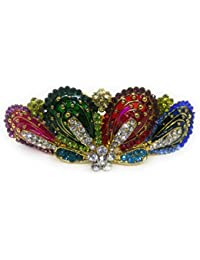 Khubsurat Hair Back-Pin/Hair Pin/Hair Clip With Multi Color Stone Stud With Multi Color Enameled, Gold Tone