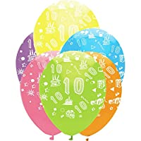 Creative Party 12 Inch Birthday Age Bright Mix All Round Print Latex Balloons (Pack Of 6)