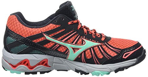 Mizuno Wave Mujin 3 G-Tx, Chaussures de Running Compétition Femme Rose - Pink (Fiery Coral/Electric Green/Black)