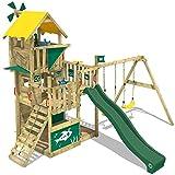 WICKEY Spielturm Smart Flight Baumhaus Kletterturm mit Rutsche, Doppel-Schaukel und verschiedenen Ebenen, grüne Rutsche + gelbe Plane