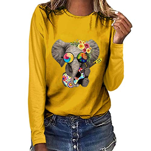 Geilisungren Camiseta de Mujer Manga Larga Elefante Impresión Blusa Camisa Cuello Redondo Basica Camiseta Suelto OtoñoTops Casual Fiesta T-Shirt Original tee