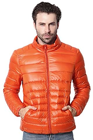 Santimon Mens Jacket Coat Lightweight Stand Collar Packable Winter Down Orange X-Large