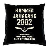 Soreso Design Geburtstagsgeschenk 16 Geburtstag :+: Geschenk Kissen & Urkunde :+: Hammer Jahrgang 2002 Farbe: schwarz