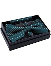 "Modern Mini Polka Dots Woven Pre-tied Bow Tie (5"") w/ Pocket Square & Cufflinks Gift Set"