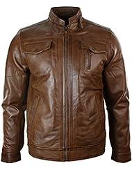 Veste homme cuir véritable délavé marron chaud style biker motard coupe ceintrée vintage fermeture éclair