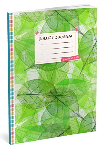 Bullet Journal: Punktraster Notizbuch (Ca. A5) + 100 Seiten + Vintage Softcover | TOP Motiv: Green Leafs | Dotted Grid Notebook, Kaligrafie Papier, Punktpapier +++ Jetzt mit Register +++