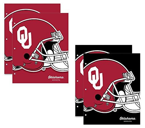 University of Oklahoma Sooners Schulmappen, 2 Taschen, 24,1 x 30,5 cm, 4 Stück (Schule Bindemittel Für College)
